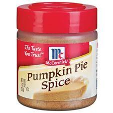 McCormick Pumpkin Pie Spice: 31g Tub & recipe