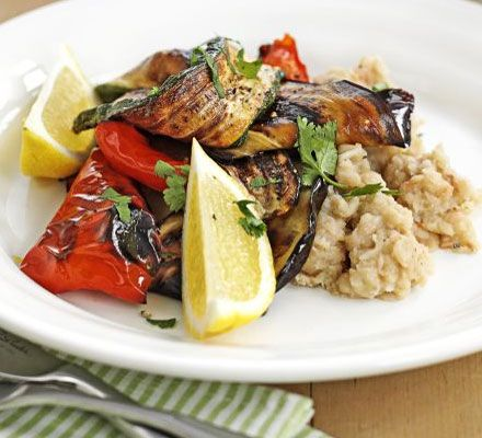 Grilled Mediterranean veg with bean mash (vegan) ~ I make this often but don't mash the beans.  I just drizzle them with olive oil, squeeze of lemon and sea salt.  So wonderful!