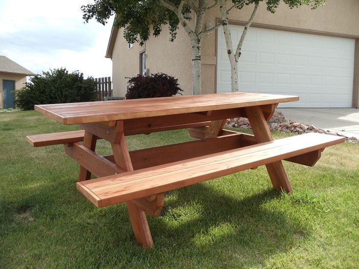 Six foot long Redwood Picnic table