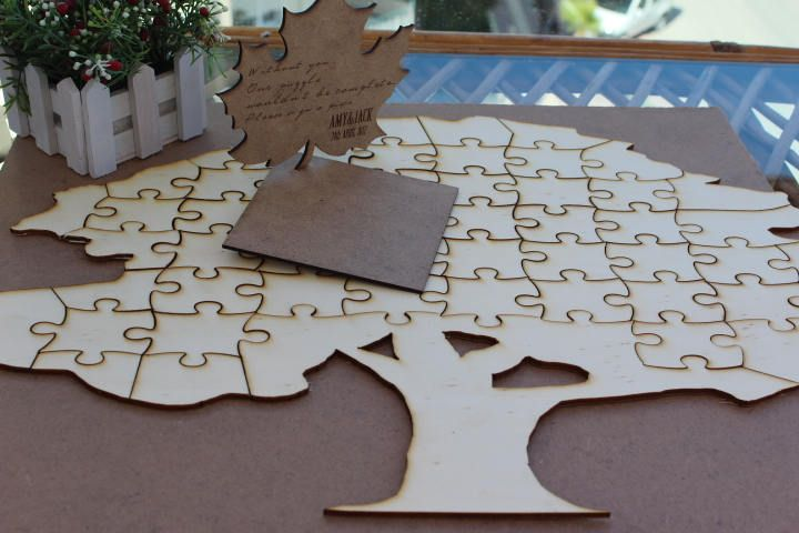 EXPRESS SHIPPING- Wedding puzzle guestbook puzzle - guest book - guestbook personalised wedding puzzle-Tree Wedding Puzzles-Guest book by WoodenWordDesign on Etsy