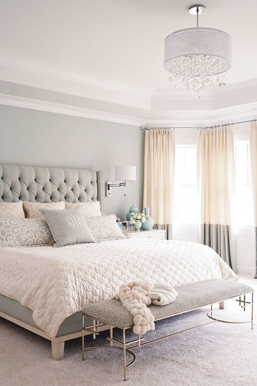 gray, white, and tan bedroom. Great two tone curtains and upholstered headboard! Love the softness of the neutral colors: