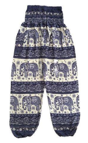 Baggy Harem Pants - Navy Blue Bali Striped Elephant Pants