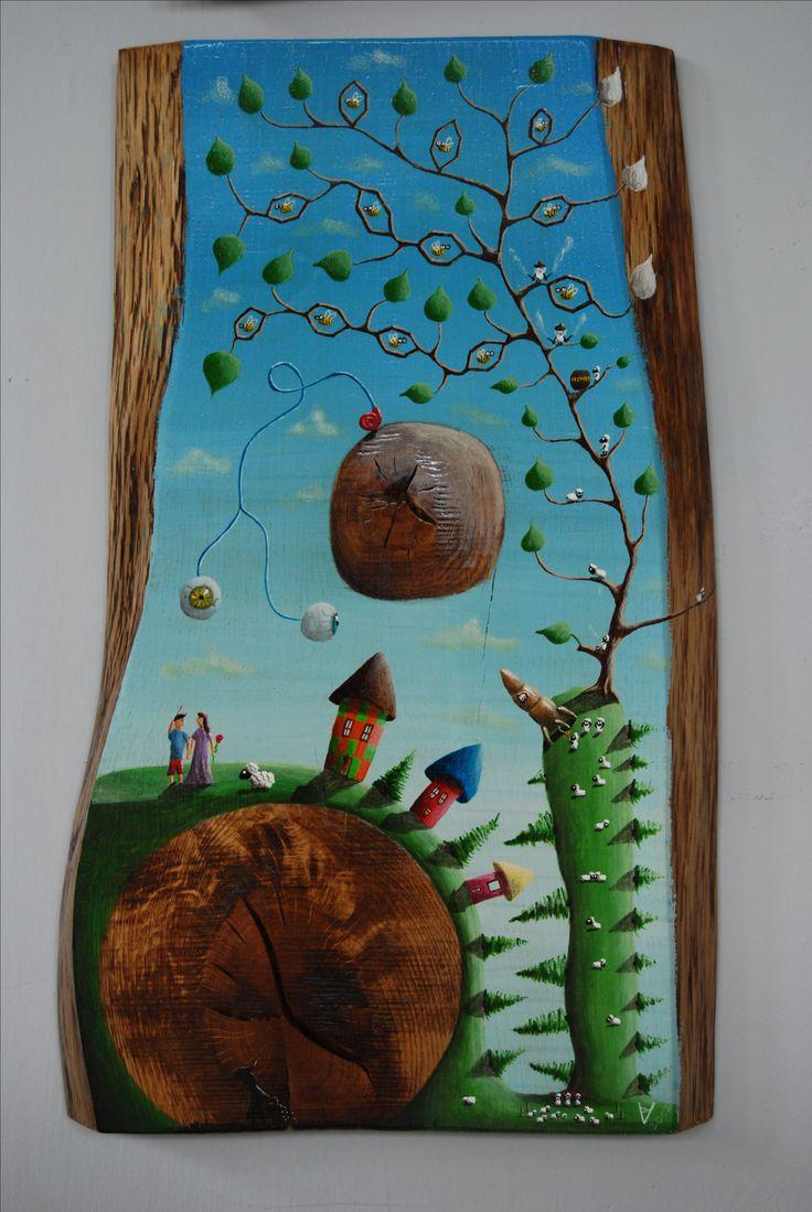 """""""me 20"""" Paweł Widera original paintings, acrylic on wood"""
