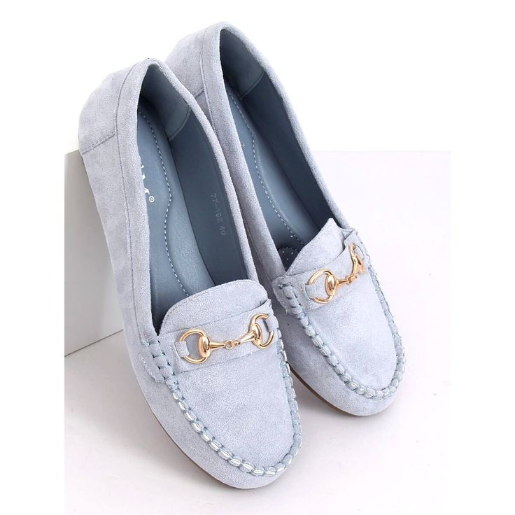 Mokasyny Zamszowe Niebieskie 77 192 Blue Shoes Loafers Fashion