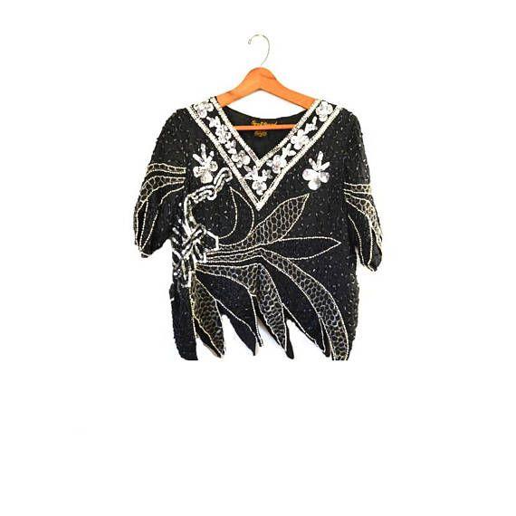 Gatsby Top| Short Sleeve Sequin Top Flapper Top Black  Beaded Top Black Beaded Top Evening Top Vintage Black Silver Beaded Top