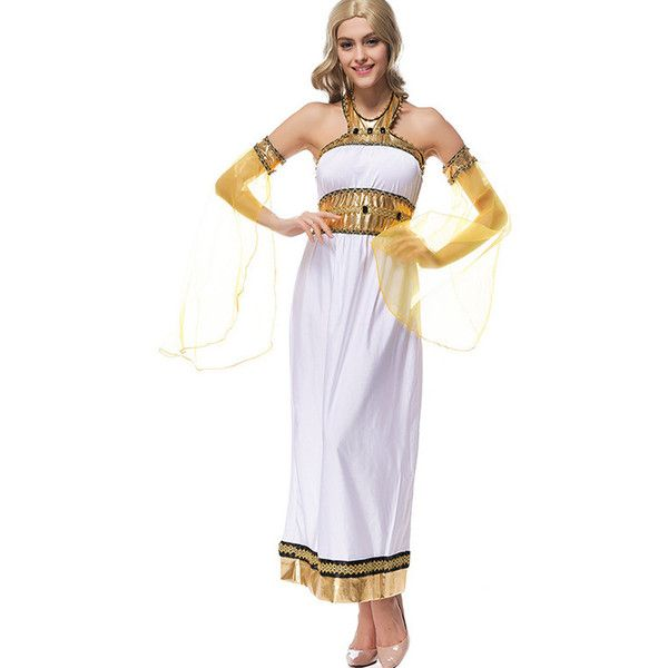 White Arab Goddess Sexy Halloween Costume ($35) ❤ liked on Polyvore featuring costumes, white, goddess costume, sexy goddess halloween costume, elegant costumes, white costumes and elegant halloween costumes
