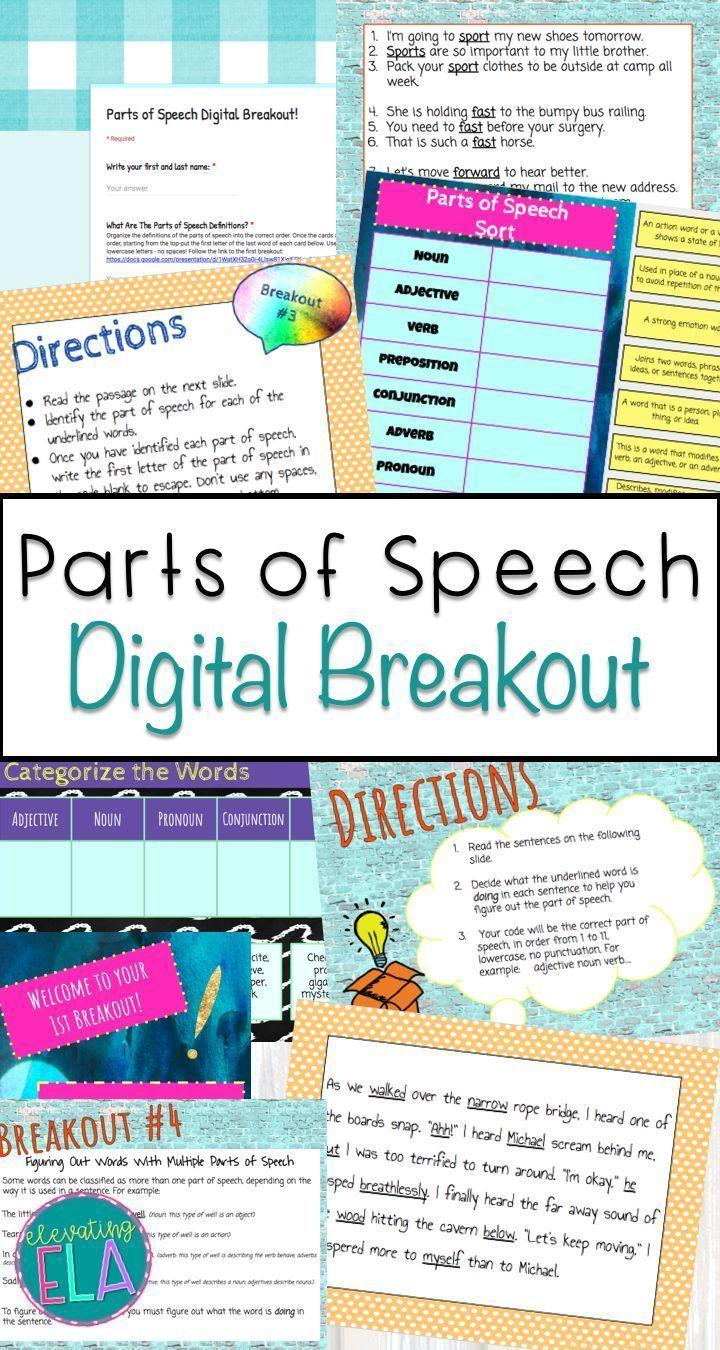 Parts of Speech Digital Breakout | Middle School Language