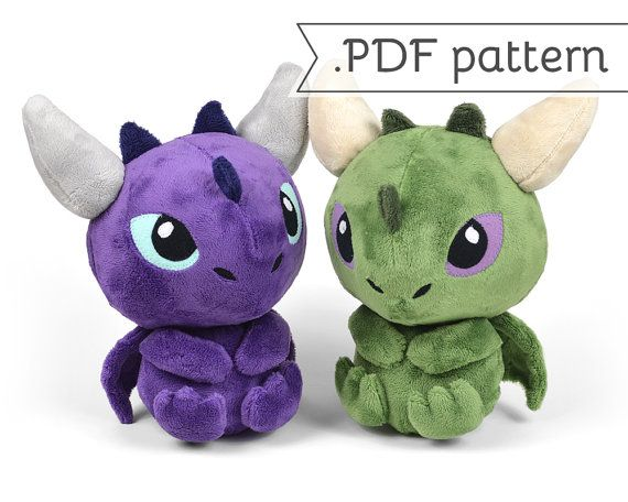 Dragon Sitting with Horns Tail Spikes Plush Sewing door CholyKnight