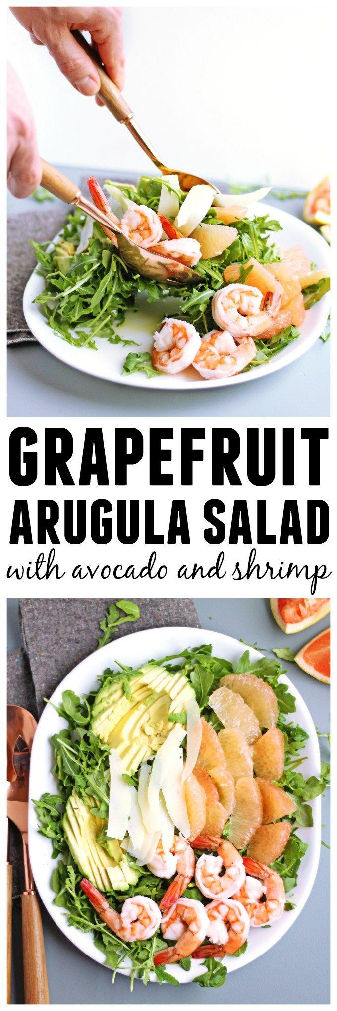 Grapefruit arugula salad with avocado and shrimp! Quick and easy ...