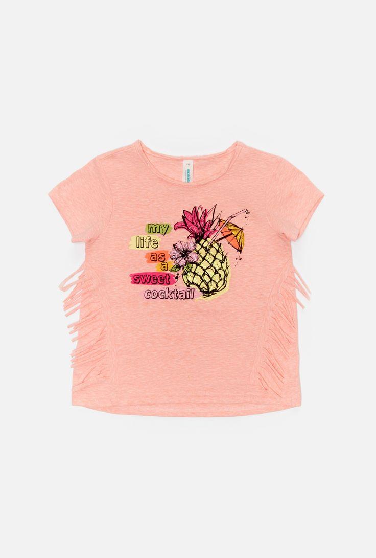 Футболка детская для девочек коралловая - купить, футболка детская для девочек коралловая, цена 599 рублей в интернет-магазине Акулакидс