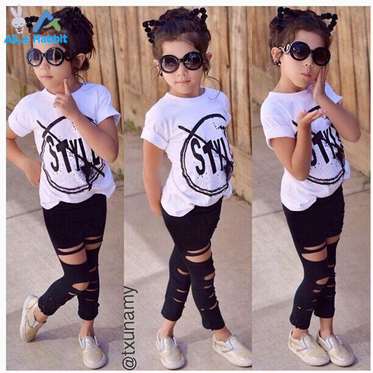 2016 Nuovi Capretti di Modo Delle Ragazze Vestiti Set Bambina vestiti di Estate Manica corta T-Shirt e Hole Pant Leggings 2 PZ Outfit Bambini Set