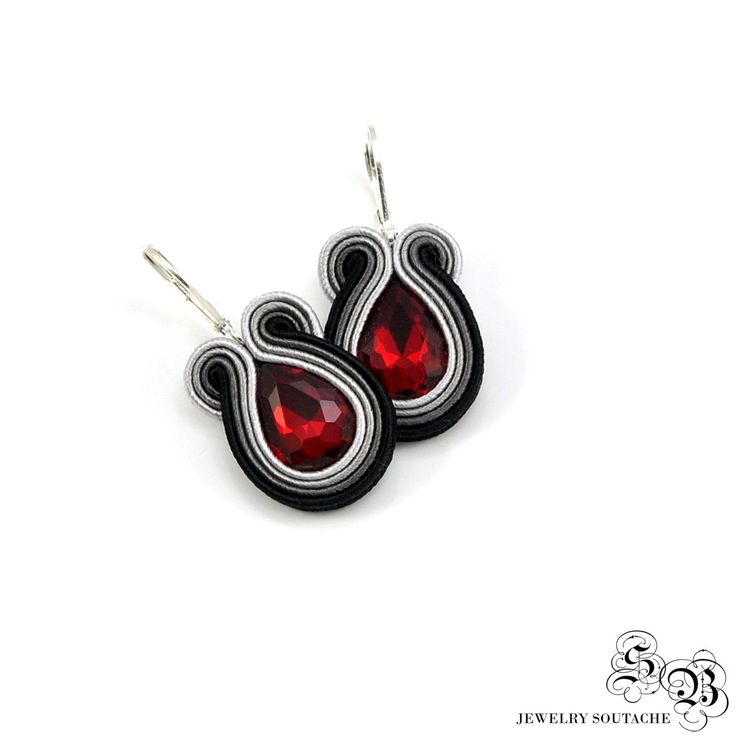 Small Black Gray Red Soutache Earrings, Soutache Earrings, Dangle Earrings, Small Earrings, Small Black earrings, Gray Embroidered Earrings by SBjewelrySoutache on Etsy