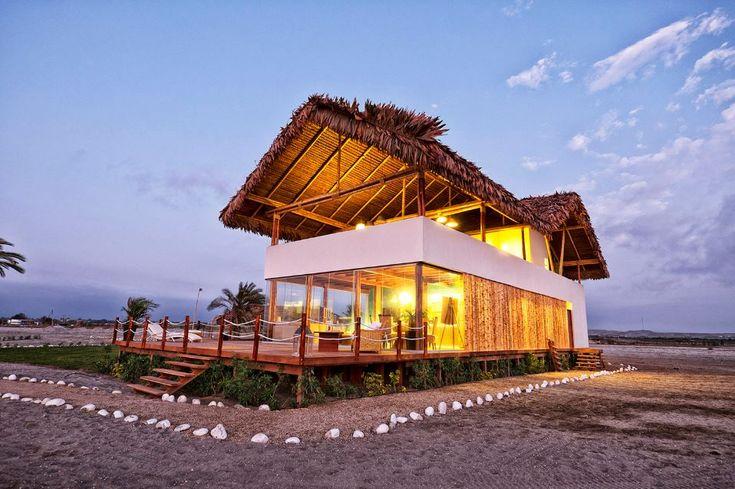 Diseño de casa de playa con bambú