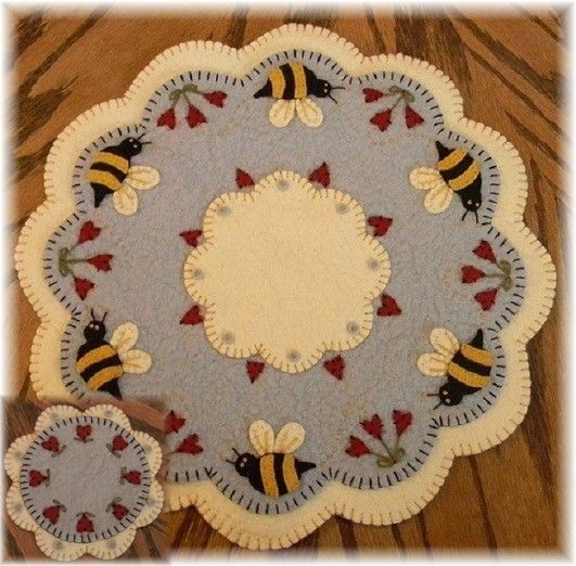 Download Free Penny Rug Patterns | Bee My Honey Bee Penny Rug/Candle Mat with Coaster e-pattern