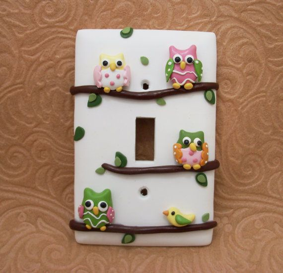 Ava  Owls on Branches Lightswitch cover  Pink by Thimbletowne, $22.00