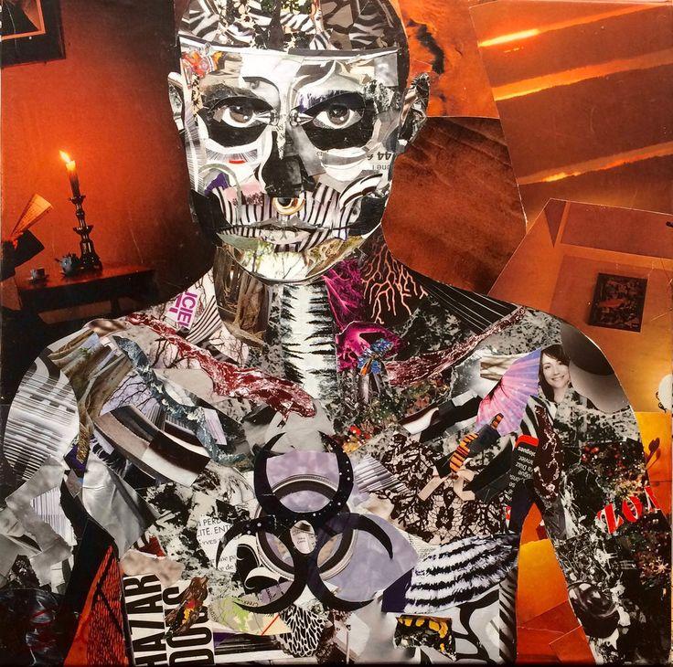 "Artiste: Louich! Collage on canvas 2016 ""Zombie Boy"" Louich.DeCournoye@gmail.com"