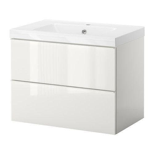GODMORGON/ODENSVIK Kast wastafel 2 lades - hoogglans wit - IKEA