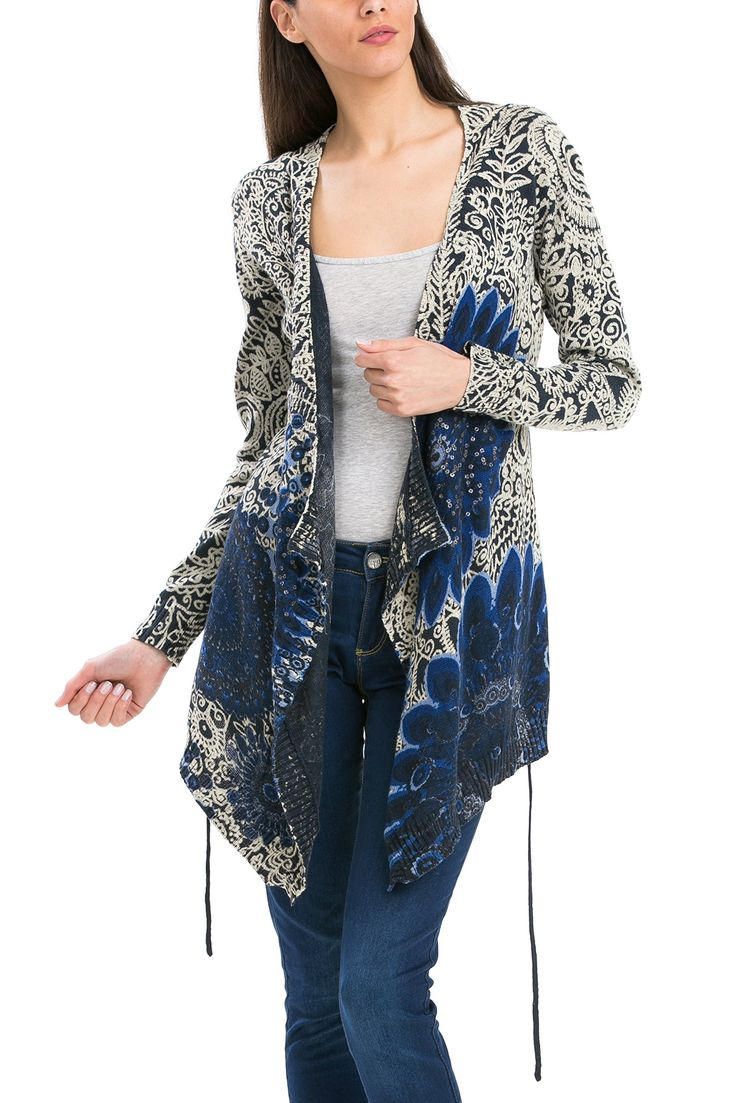 Desigual Women's Long Cardigan with Loose Fit, Marino, Small