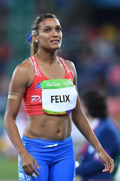 Puerto Rico's Alysbeth Felix competes in the Women's Heptathlon Javelin Throw…