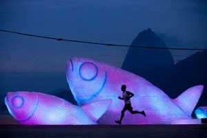 Think how many large fish sculptures could be created out of one days worth of world consumption of plastic water bottles, it would be much larger than a school of fish.  In conjunction with the UN Conference of Sustainable Development (Rio+20) a number of illuminated fish sculptures were created from discarded plastic bottles in Rio De Janeiro.