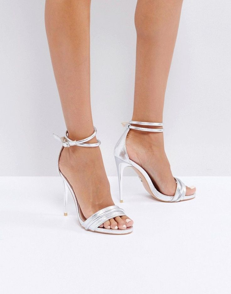 Lost Ink Bella Two Tone Silver Heeled Sandals - Silver