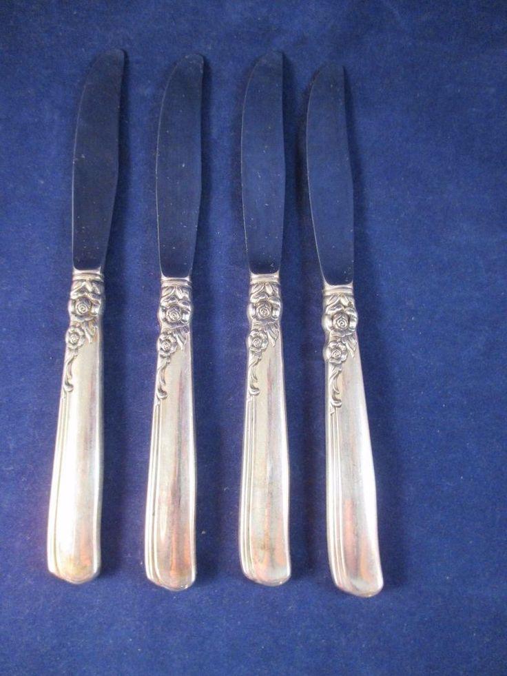 Vintage Oneida Gay Adventure Modern Table Knife S/4 SilverPlate 1955 MidCentury #ONEIDA
