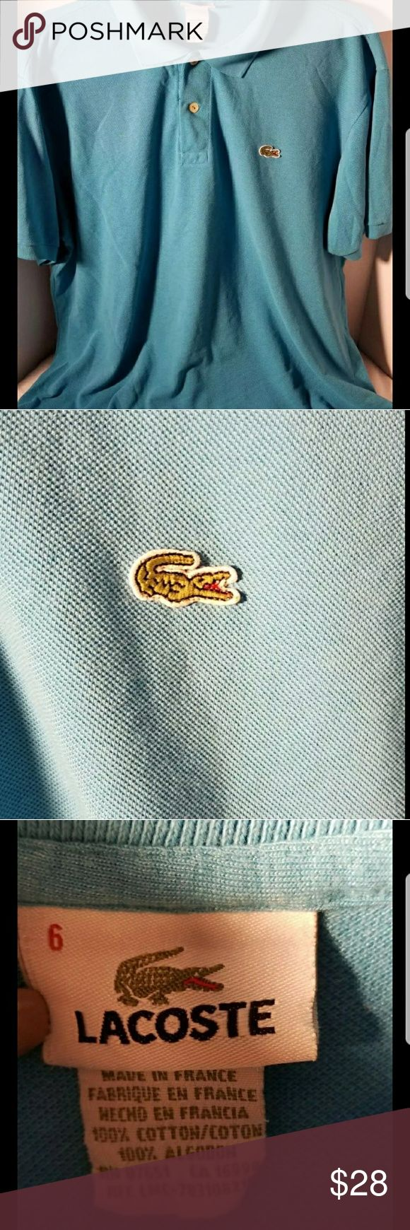 Blue Lacoste Polo Collar Shirt 6 Excellent pre-loved condition.  Lacoste men's size 6, like an XL (guessing fr looking at it). Lacoste Shirts Polos
