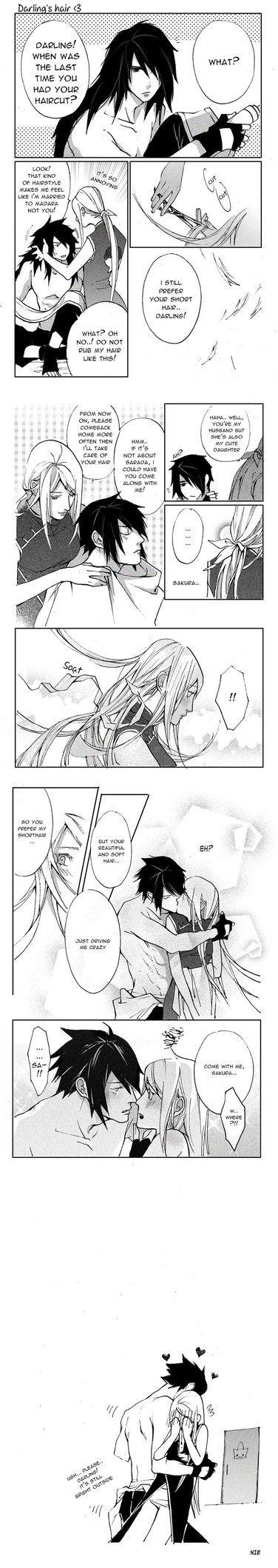 There was a headcanon I stumbled upon on Tumblr and I had to draw it. Poor Sasuke.
