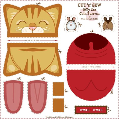 Billy_Coin_Purrse fabric by woodmouse