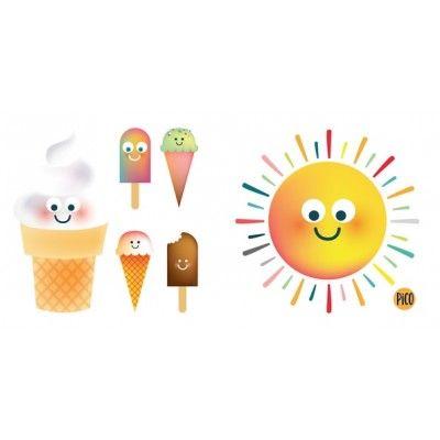Tatouage temporaire Crème glacée et soleil...