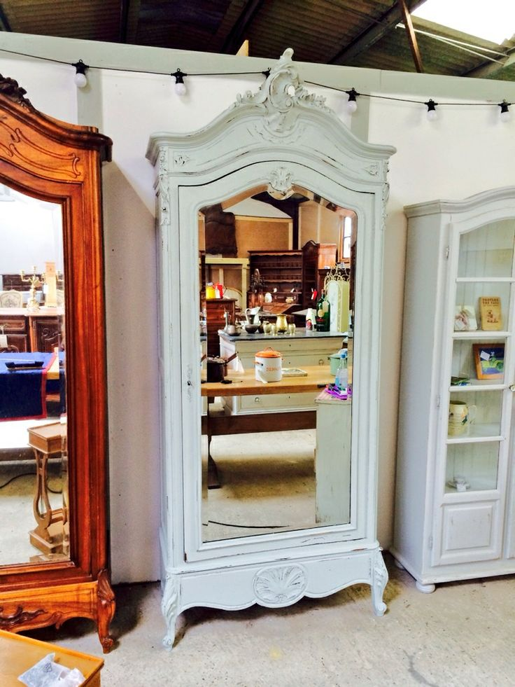 French vintage armoire painted in Craig & rose moonstone grey with a distressed finish
