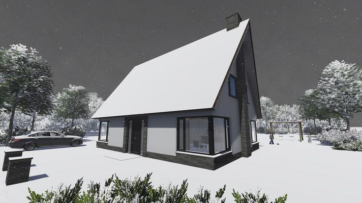 Impressie vrijstaande woning rietgedekt in de winter. www.signatuurrijssen.nl