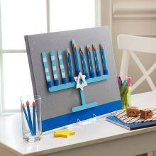 This kid-friendly menorah will be the centerpiece of your Hanukkah decor. Happy Hannukah, Hanukkah Crafts, Jewish Crafts, Hanukkah Decorations, Hanukkah Menorah, Holiday Crafts, Hanukkah 2016, Jewish Hanukkah, Happy Holidays