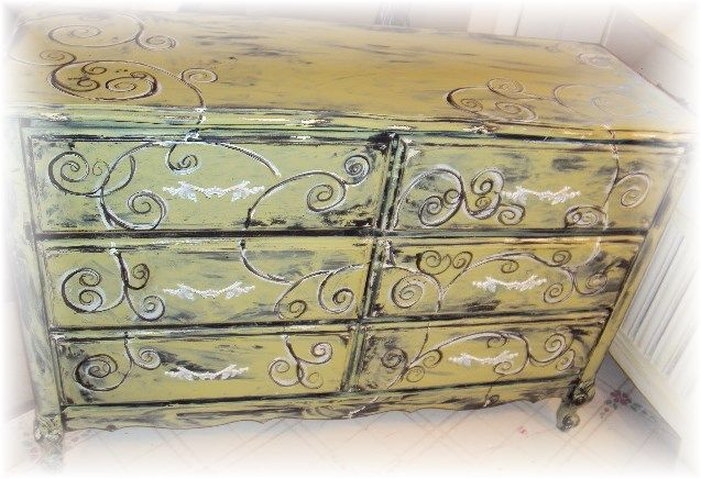 French Provincial dresser that was riddled with stickers, I have painted with FAT PAINT, (chalk paint) and hand embellished with black and white SWIRLS, giving it a SHABBY CHIC / ABSTRACT look....I love swirls... https://www.facebook.com/pages/The-Dwelling-Place/208843295993325