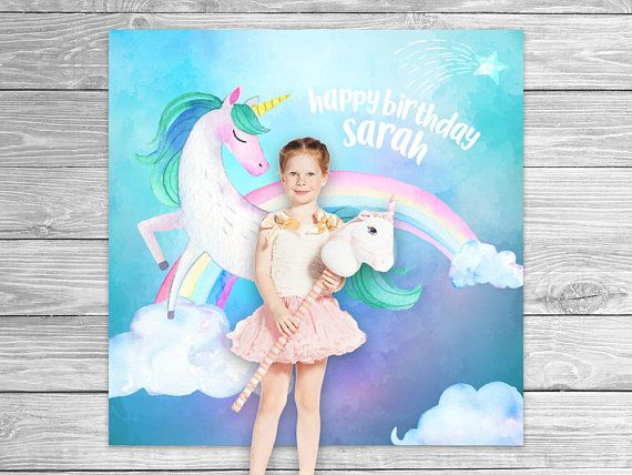 Watercolor rainbow unicorn photo booth backdrop birthday