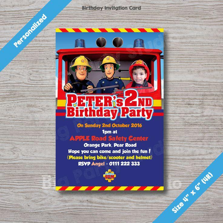 Fireman Sam Personalized Birthday Invitation Card, Fireman Sam Invites, Photo…