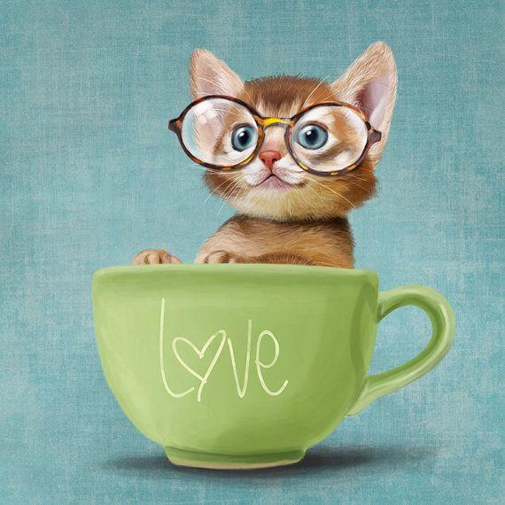 Un petit chat drôle dans une grande tasse sur une par SparaFuori