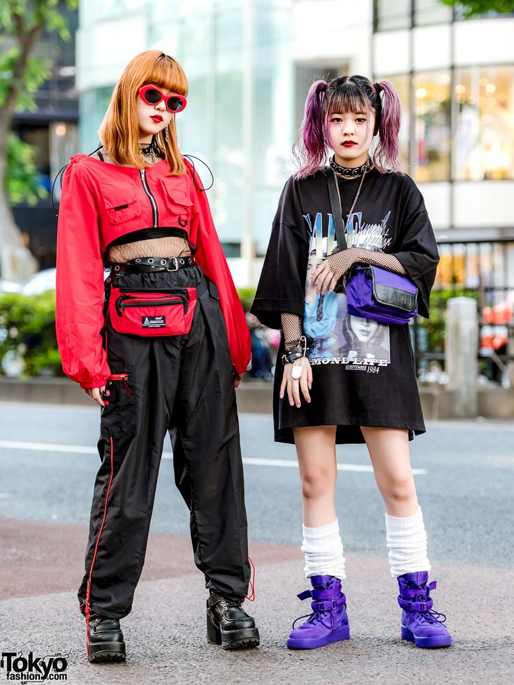 Harajuku girls sporting two-tone street styles with twin tails, waist bag, loose…
