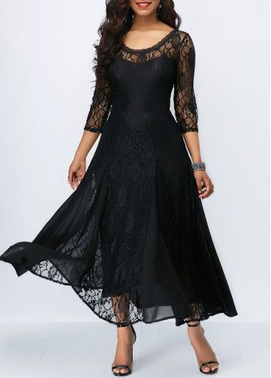 f2528caa9e5 Round Neck Open Back Black Lace Dress | Rotita.com - USD $38.92 ...