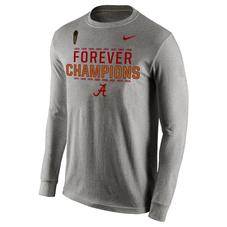 Alabama Crimson Tide Nike College Football Playoff 2015 National Champions Forever Long Sleeve T-Shirt - Gray - $23.74
