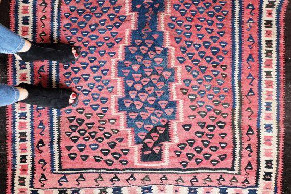 Vintage Antique Hand Knotted Turkish Kilim Rug - the GINGER - Love Worn Flatweave