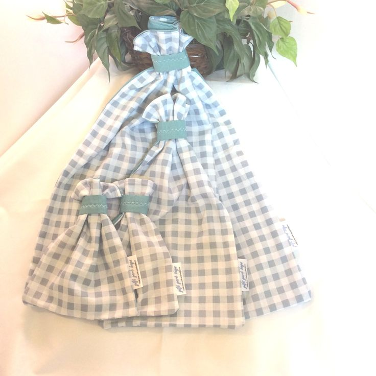 Fabric Gift Bags, Set of 4, Blue and White Check, Birthday Gift Bags,Baby Shower,Cottage Chic,upcycled,repurposed,reuse,handmade, *2 SETS* by giftgarbbags on Etsy