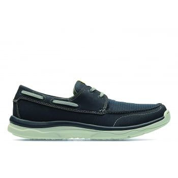 The Marus Edge from the Clarks Cloud Steppers Collection features a sporty lace-up boat shoe vibe. The breathable navy textile upper and lining offer instant comfort—no break-in required. A removable Tetrasoft with OrthoLite footbed ensures every step is cushioned while a high-rebound lightweight EVA outsole offers limitless flexibility. On-trend simple styling meets sporty versatility with this men's casual shoe…