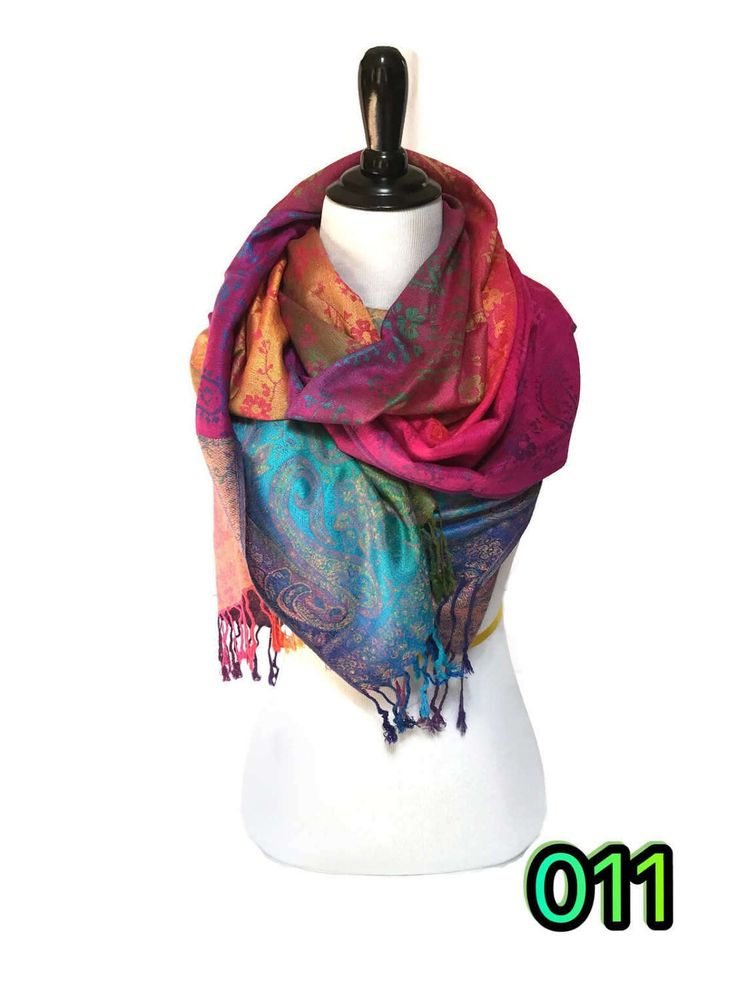 Pashmina Scarf Rainbow Scarf Pashmina Shawl Gift For Her Fashion Accessories Mothers Day Pashmina Scarves Women Scarf Shawls&Wraps by KMAFashions on Etsy https://www.etsy.com/listing/455165088/pashmina-scarf-rainbow-scarf-pashmina