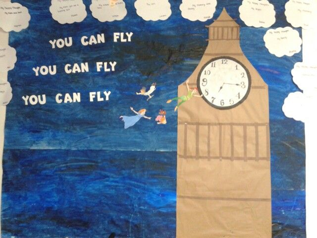 You can fly, you can fly, you can fly Peter Pan classroom theme bulletin boards