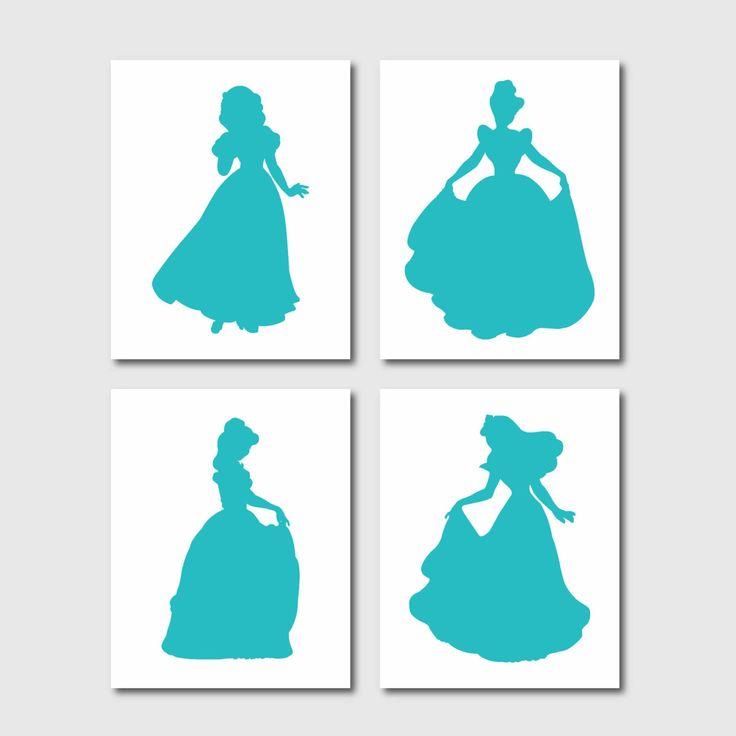 Disney Princess Silhouette Quad - Girl's room decor - Wall Art - Nursery Art - 8 x 10 - your choice of colors. $55.00, via Etsy.