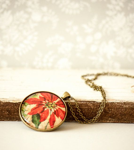 Poinsettia Red Flower Christmas Necklace by BeautyfromashesUSA