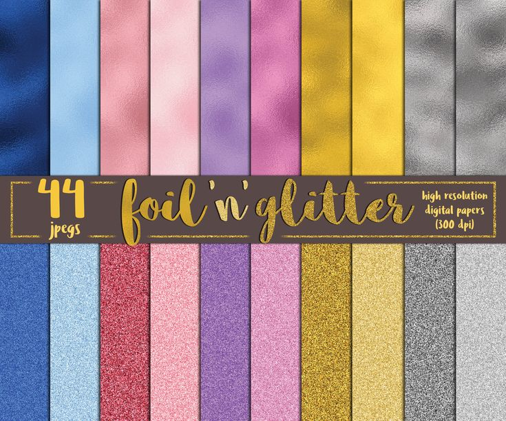 Pack comes with 44 items in high resolution (300dpi) and they are printable (cmyk mode). Foils come in 5 colors and each color has 5 shades. Glitter papers come in 5 color and each color has 5 shades.