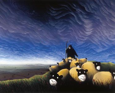 Typical Mackenzie Thorpe - Sheep and Sky