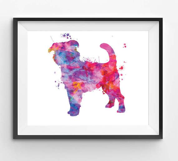 Colorful Brussels Griffon Watercolor Print Dog Print Dog